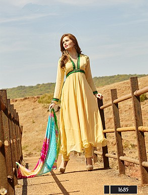 Thankar New Attractive Designer Yellow Anarkali Suit With Multi Color Bandhni Dupatta @ Rs1050.00