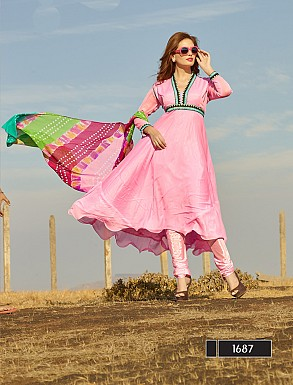 Thankar New Attractive Designer Light Pink Anarkali Suit With Multi Color Bandhni Dupatta @ Rs1050.00