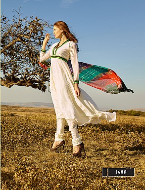 Thankar New Attractive Designer Off White Anarkali Suit With Multi Color Bandhni Dupatta @ Rs1050.00