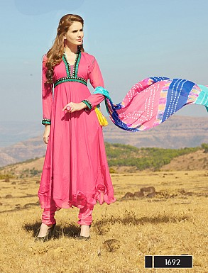 Thankar New Attractive Designer Light Pink Anarkali Suit With Multi Color Bandhni Dupatta @ Rs1915.00