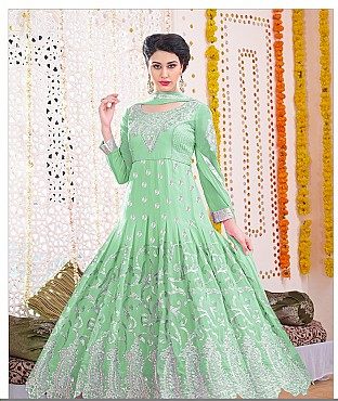 Thankar Latest Designer Heavy Parrot Embroidery Anarkali Suit With Long Sleeve @ Rs1730.00
