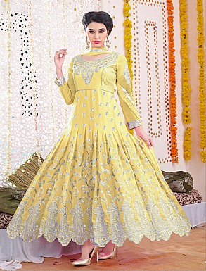 Thankar Latest Designer Heavy Yellow Embroidery Anarkali Suit With Long Sleeve @ Rs1730.00