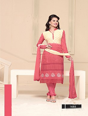 Thankar Latest Designer Heavy Peach and Cream Embroidery Straight Suit @ Rs864.00
