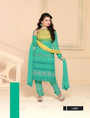 Thankar Latest Designer Heavy Aqua and Yellow Embroidery Straight Suit @ Rs864.00