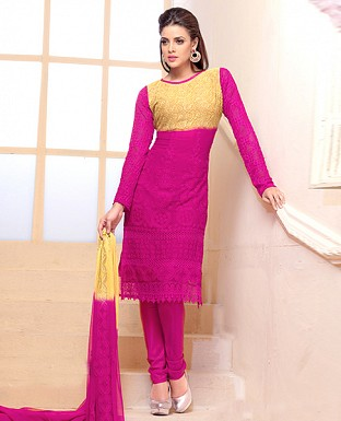 Thankar Latest Designer Heavy Pink and Yellow Embroidery Straight Suit @ Rs1050.00
