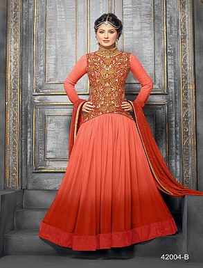 Thankar New Attractive Designer Floor Length  Net&Velvet Red Anarkali Suit @ Rs1029.00