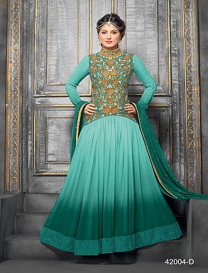 Thankar New Attractive Designer Floor Length  Net&Velvet Aqua Anarkali Suit @ Rs1544.00