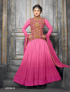 Thankar New Attractive Designer Floor Length  Net&Velvet Pink Anarkali Suit @ Rs1544.00