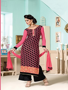 Thankar Latest Designer Heavy Pink and Black Embroidery Straight Suit @ Rs1173.00