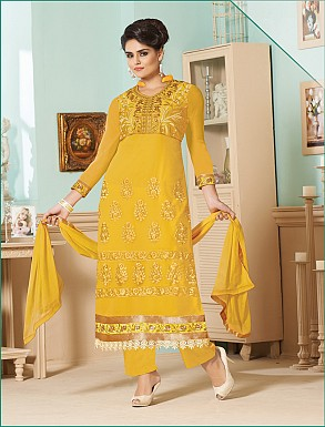 Thankar Latest Designer Heavy Yellow Embroidery Straight Suit @ Rs1173.00