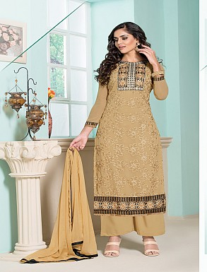 Thankar Latest Designer Heavy Cream Embroidery Straight Suit @ Rs1173.00