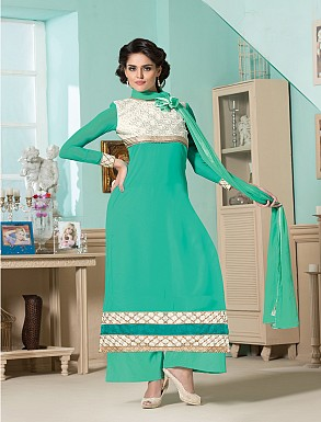 Thankar Latest Designer Heavy Aqua Embroidery Straight Suit @ Rs1173.00
