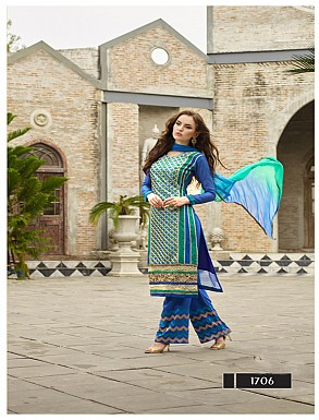 Thankar Latest Designer Heavy Blue Embroidery Straight Suit @ Rs2039.00