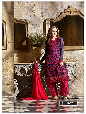 Thankar Latest Designer Heavy Blue and Pink Embroidery Straight Suit @ Rs2039.00
