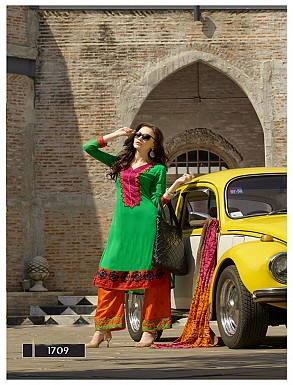 Thankar Latest Designer Heavy Green and orange Embroidery Straight Suit @ Rs2039.00