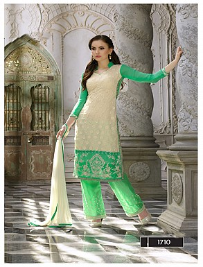 Thankar Latest Designer Heavy Cream and Parrot Embroidery Straight Suit @ Rs2039.00