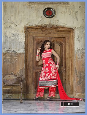 Thankar Latest Designer Heavy Red Embroidery Straight Suit @ Rs2039.00