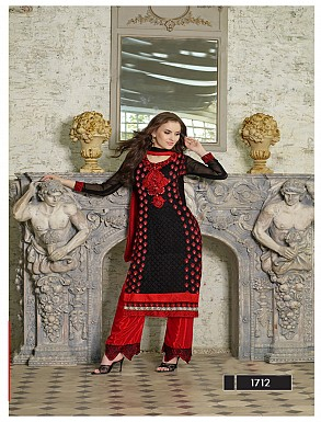 Thankar Latest Designer Heavy Black and Red Embroidery Straight Suit @ Rs2039.00