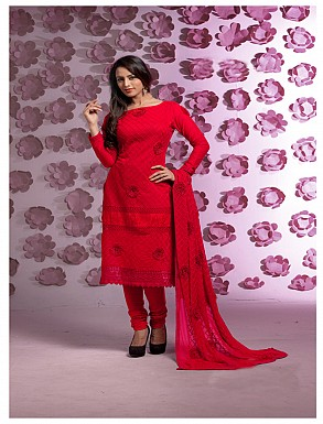 Thankar Latest Designer Heavy Red Embroidery Straight Suit @ Rs1421.00