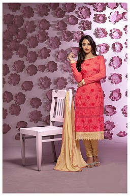 Thankar Latest Designer Heavy Peach and Yellow Embroidery Straight Suit @ Rs1421.00