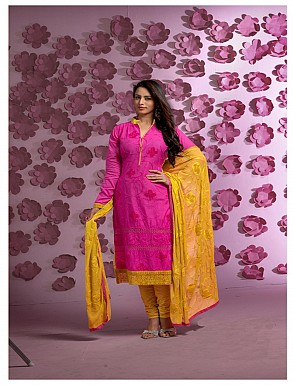 Thankar Latest Designer Heavy Pink and Yellow Embroidery Straight Suit @ Rs1421.00