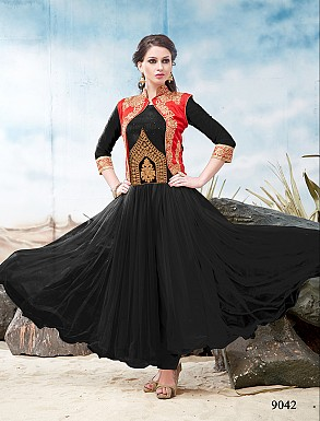 Thankar Latest Designer Heavy Red and Black Embroidery Anarkali Suit @ Rs1050.00