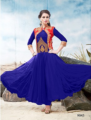 Thankar Latest Designer Heavy Red and Blue Embroidery Anarkali Suit @ Rs1050.00