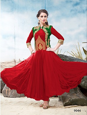 Thankar Latest Designer Heavy Green and Red Embroidery Anarkali Suit @ Rs1050.00