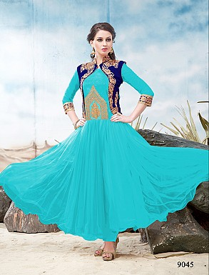 Thankar Latest Designer Heavy Sky and Blue Embroidery Anarkali Suit @ Rs1050.00
