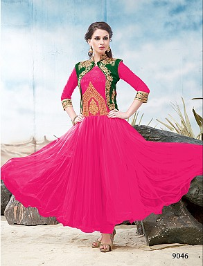 Thankar Latest Designer Heavy Pink and Green Embroidery Anarkali Suit @ Rs1050.00