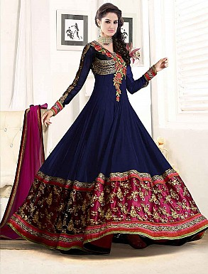 THANKAR NEW ATTRACTIVE DESIGNER NAVY BLUE ANARKALI SUIT @ Rs1112.00