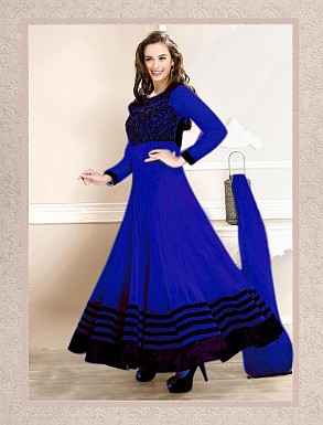 Thankar Latest Designer Heavy Blue Embroidery Anarkali Suit @ Rs741.00