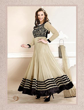 Thankar Latest Designer Heavy Cream Embroidery Anarkali Suit @ Rs741.00