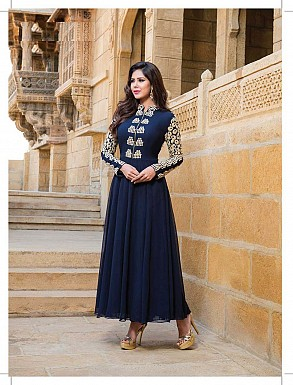 THANKAR NEW ATTRACTIVE DESIGNER NAVY BLUE FULLSLEEVE ANARKALI SUIT @ Rs1145.00