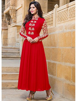 THANKAR NEW ATTRACTIVE DESIGNER RED FULLSLEEVE ANARKALI SUIT @ Rs1145.00