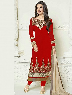 Designer Heavy Red and Cream Embroidery Anarkali Suit @ Rs1050.00