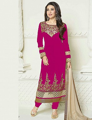 Designer Heavy Pink and Cream Embroidery Anarkali Suit @ Rs1050.00