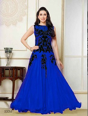 THANKAR NEW ATTRACTIVE DESIGNER BLUE SLEEVELESS ANARKALI SUIT @ Rs1050.00