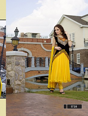 Thankar New Style Designer Heavy Yellow Embroidery Anarkali Suit @ Rs1173.00