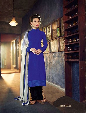 Thankar New Western Style Designer Heavy Blue Embroidery Anarkali Suit @ Rs2286.00