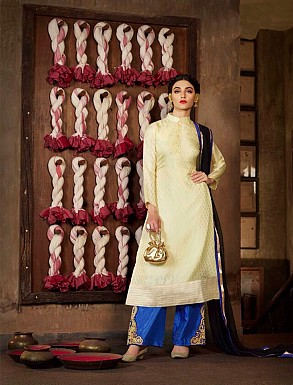 Thankar New Western Style Designer Heavy Offwhite Embroidery Anarkali Suit @ Rs2286.00