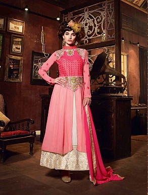 Thankar New Western Style Designer Pink Embroidery Anarkali Suit @ Rs2286.00