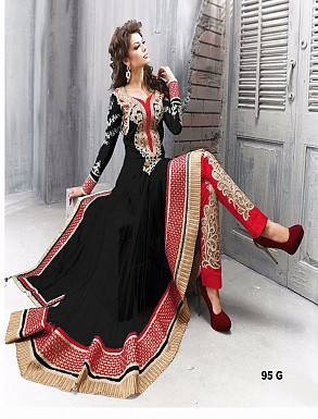 Thankar Amazing Heavy Designer Black Embroidery Anarkali Suit @ Rs1482.00