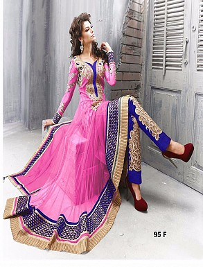 Thankar Amazing Heavy Designer Pink Embroidery Anarkali Suit @ Rs1482.00