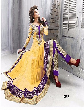 Thankar Amazing Heavy Designer Yellow Embroidery Anarkali Suit @ Rs1544.00