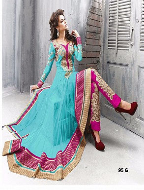 Thankar Amazing Heavy Designer Sky Embroidery Anarkali Suit @ Rs1544.00
