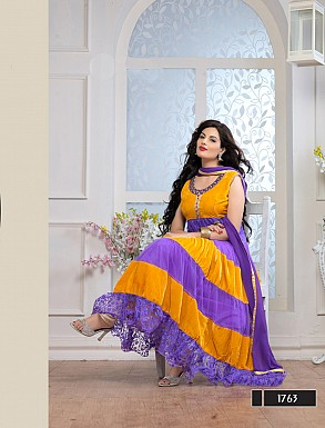 Thankar Fabulous Latest Designer Yellow & Purple Anarkali Suits @ Rs1359.00