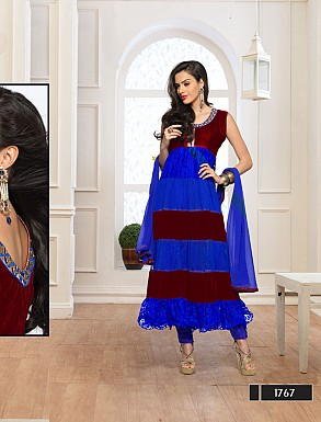 Thankar Fabulous Latest Designer Blue & Maroon Anarkali Suits @ Rs1359.00