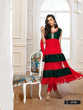 Thankar Fabulous Latest Designer Green & Red Anarkali Suits @ Rs1359.00