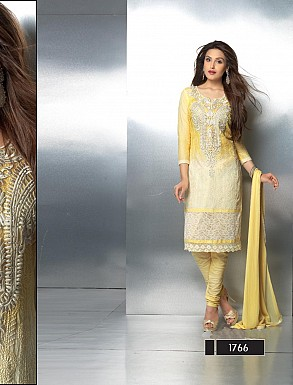 THANKAR LATEST EMBROIDERED DESIGNER LIGHT YELLOW STRAIGHT SUITS @ Rs1421.00